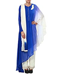 Royal Blue And Off White Straight Suit Enhanced In Thread Embroidery