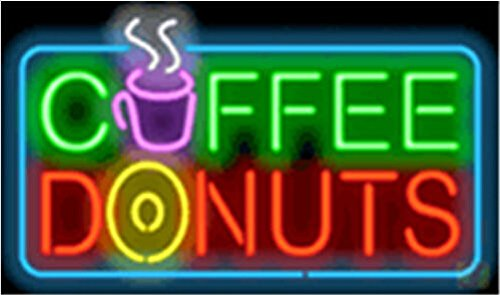 "New Coffee & Donuts Signboard Shop Neon Light Sign Display Beer Bar Pub Store Club Garrag Dealers Windows Garage Wall Sign 17w""x 14""h"
