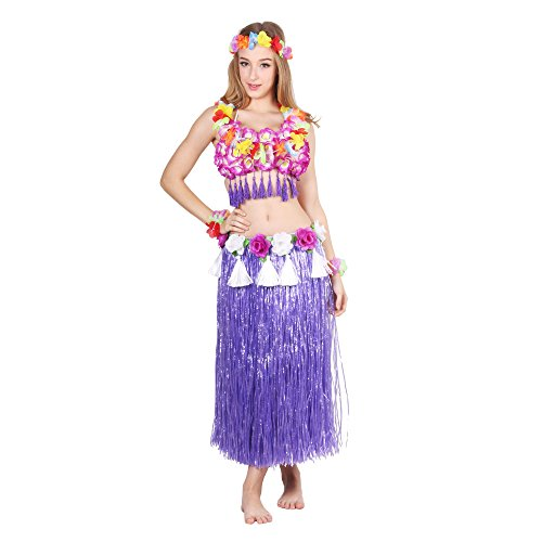 HOTER® Six-Piece Artificial Grass Skirt Set, Hawaiian Hula Dancer Grass Skirt With Flower Costume Set, Various Colors