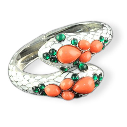 Snake Shape White Enamel Fashion Costume Bangle with Cuff Open, Br-1238