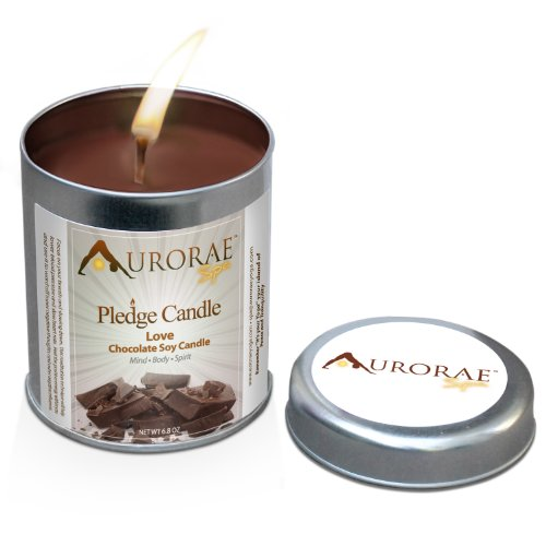Chocolate Scented 100% Soy Wax Pledge Candle by Aurorae: Love ~ All Natural Meditation Candle ~ Yoga Candle ~ Aromatherapy ~ Nontoxic (Love ~ Chocolate, 6.8 oz.)