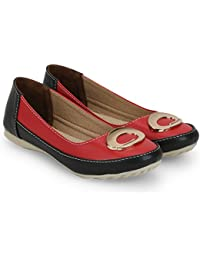 Jayn Martin Red & Black Casual Slip On Bellies