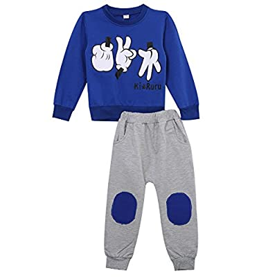 Boys'2 Piece 100% Cotton Long Sleeve Outfit Clothes Set 2-7y