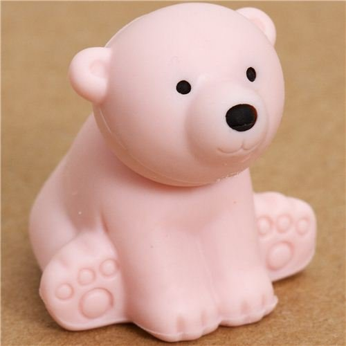 pale pink polar bear eraser by Iwako from Japan - 1