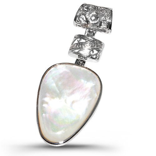 White Shell Oval Pendant-Rhodium Plated