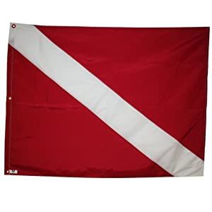 JCS Xtra Heavy Nylon Diver-Down Flag, Slip on Style (48inch x 60inch, Red & White... by JCS