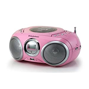 AudioSonic CD-1572 - Reproductor de música portátil (reproductor de CD y MP3, radio AM/FM, puerto USB 2.0) color rosa [Importado de Alemania]