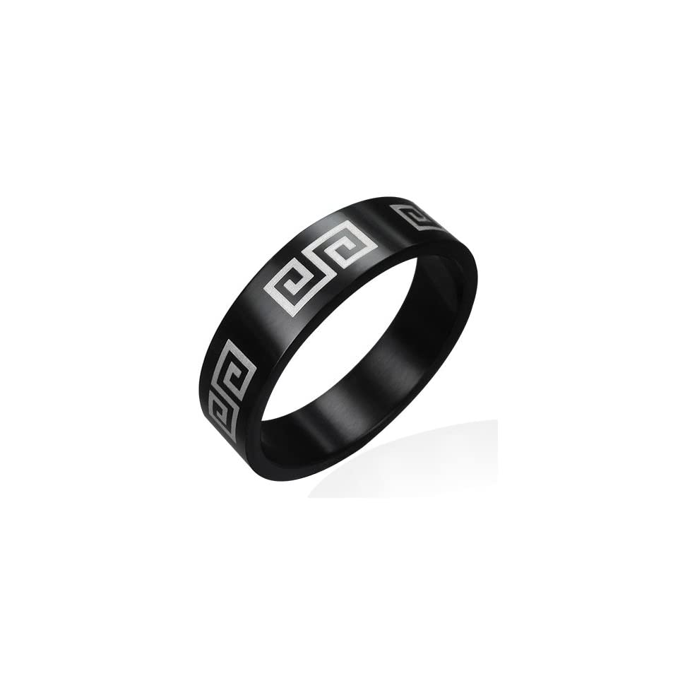 R279 R R279 Black Stainless Steel Double Greek Key Flat Band Ring  Size 9