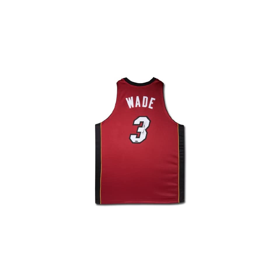 Dwyane Wade Autographed Jersey Authentic Red Heat Jersey   Autographed NBA Jerseys