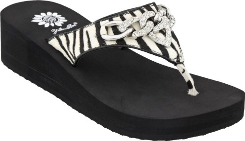Yellow Box Women'S Norma Wedge Sandal (6, Zebra) front-1041329