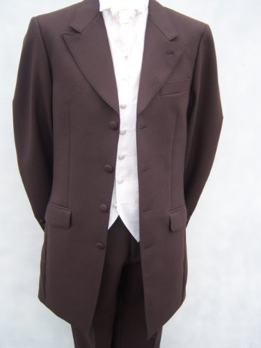 Mens new chocolate brown prince edward wedding suit dress suits