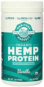Manitoba Harvest Certified Organic Vanilla Protein Powder, 16 Ounce Tub
