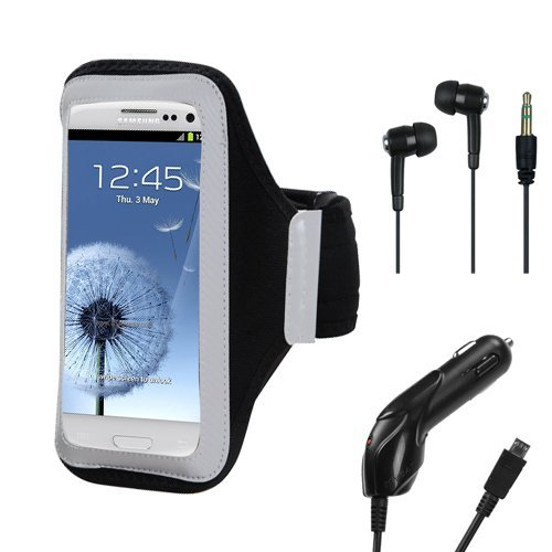 Premium Durable Workout Running Adjustable Neoprene Comfortable Lightweight Armband With In-Ear Headphone Mp3 Earbuds And Travel Car Charger (Microusb) For Samsung Galaxy S3 ( Iii ) Android Smartphone
