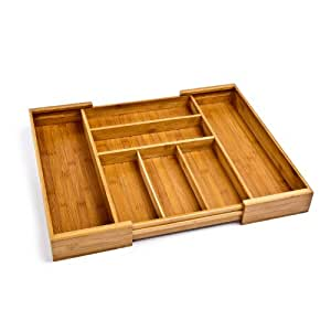 Seville Classics Expandable Bamboo Cutlery Drawer Organizer