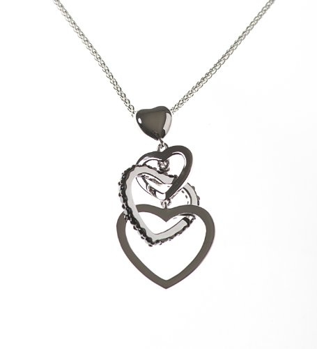 Silver Black Cubic Zirconia & Triple Heart 16 Inches + 2 Inches Extender Necklet