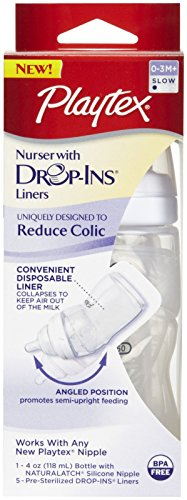 Playtex Drop-Ins System Premium Nurser with Slow Flow Nipple -- 4 oz - 1