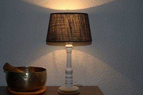 Tischleuchte-Bombai-Holz-wei-36-cm-Tischlampe-Lampenschirm-oval-in-braun-Landhaus-Shabby-Chic-Franske