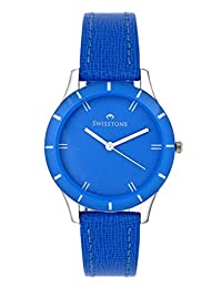 Swisstone Blue Dial Blue Leather Strap Analog Watch For Women/Girls- ST-LR002-BLU-BLU