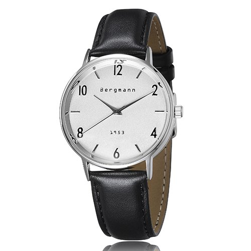Bergmann Vintage Men'S Casual Dress Watch Classic White Dial Black Leather Brand Gents Watches 1953