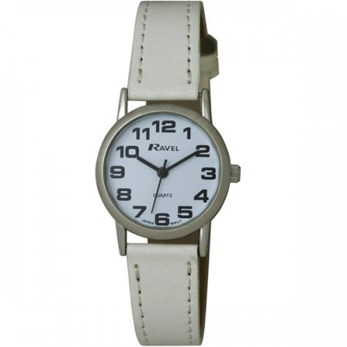 LADIES RAVEL EASY READ WHITE WATCH. LONG WHITE