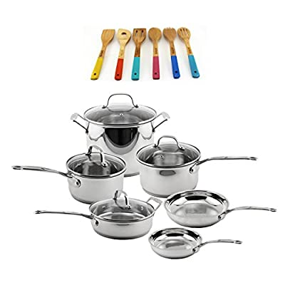 BergHOFF 18/10 Stainless Steel-16Piece Set, 10Piece Cookware Set & 6Piece Utensil Set, , Silver