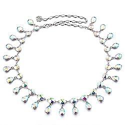 Diamante Women's Water Drop Crystal Rhinestone Waist Chain Belt Wedding Jewelry - colorful