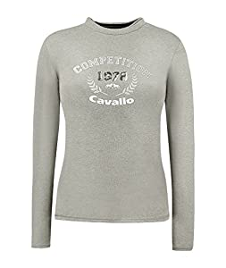 Cavallo Damen Langarm Shirt DIRA grey melange - Kombifreudiges Basicshirt in femininter Interpretation (grey melange, 40)