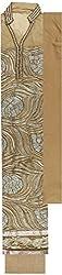 Preety Women's Net Semi Stitched Dress Material (PW046, Golden)