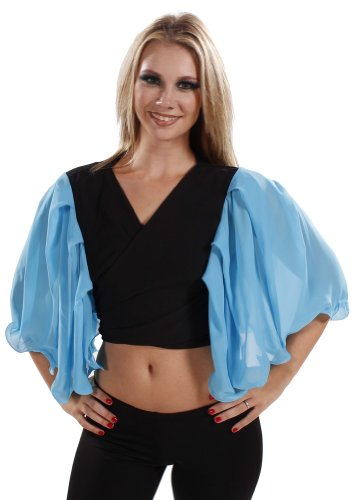 Belly Dance Lycra and Chiffon Bell Sleeve Top | Sheer Harem Top