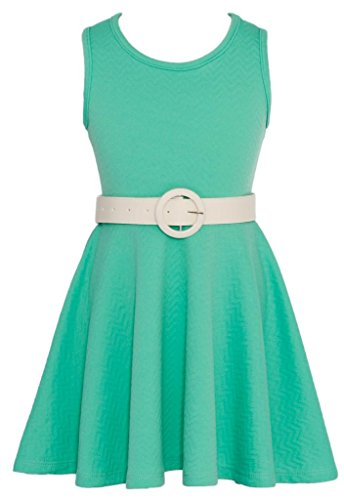 Wonder Girl Solid O Big Girls' Jacquard Skater Dress Buckle Belt Set