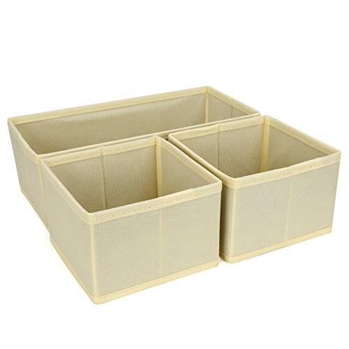 Set of 3 Drawer Bin Set - EZOWare Closet / Dresser Storage Drawer Organizer Basket for Bras, Socks, Underwear, Tie, Scarves, Gloves and more