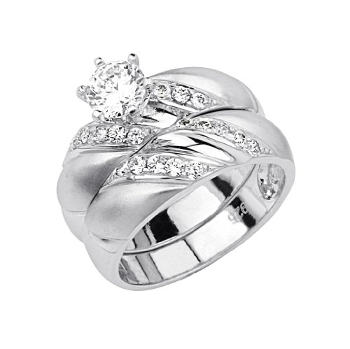 .925 Sterling Silver CZ Swirl Ladies Wedding Engagement Ring and Matching Band 2 Pieces Set - Size 5