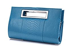 Hoxis Classic Crocodile Pattern Faux Patent Leather Cut it out Clutch with Shoulder Strap Womens Handbag (Blue)