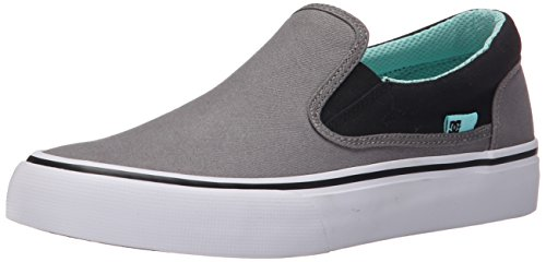 DC Women's Trase Slip-On TX Skate Shoe, Grey/Black, 10 M US