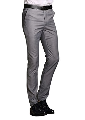 MOGU Mens Slim Fit Flat Front Pant US Size 32(Tag Asian Size XL) Light Gray (Skinny Dress Pants compare prices)