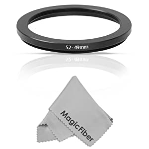 Goja 52-49mm Step-Down Adapter Ring (52mm Lens to 49mm Accessory) + Premium MagicFiber Microfiber Lens Cleaning Cloth