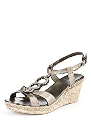 Leather Open Toe Diamanté Crossover Bling Wedge Sandals