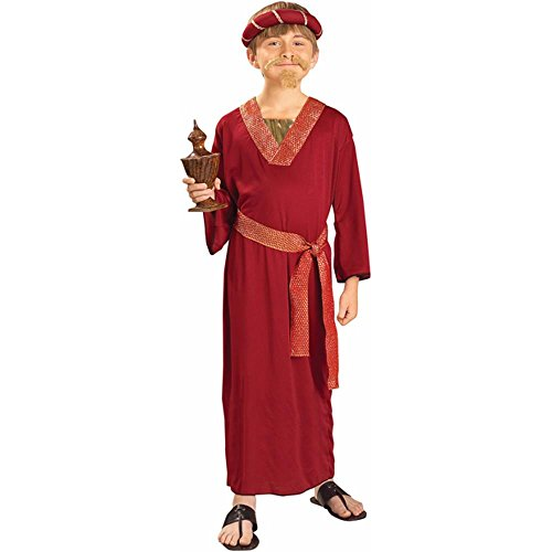 Child's Burgundy Wiseman Biblical Costume (Size: Large 12-14)
