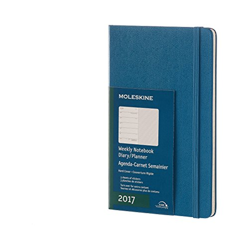 Moleskine 2017 Weekly Notebook, 12M, Large, Steel Blue, Hard Cover (5 x 8.25)