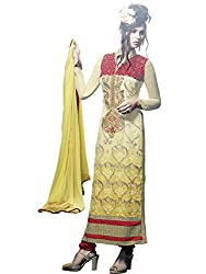 Look N Buy Royal Yellow & Red Coloured Embroidered Salwar Kameez