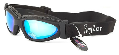 Rayzor Professional UV400 Black 2 In 1 Padded Sports Sunglasses / Goggles, With a Blue Iridium Mirrored Anti-Glare Clarity Lens and a Detachable Elasticated Headband.