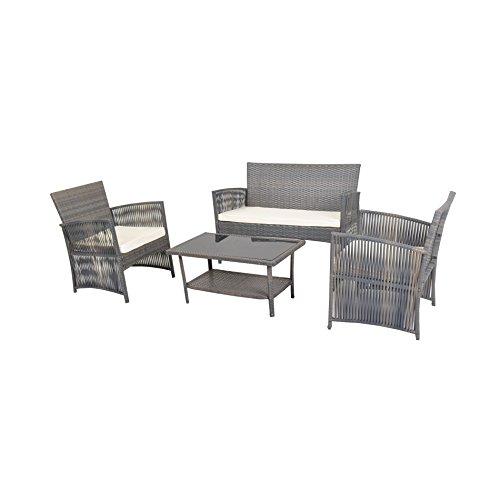 4 PCS Cushioned pact Outdoor Rattan Wicker Patio Set Garden Lawn Sofa Furn