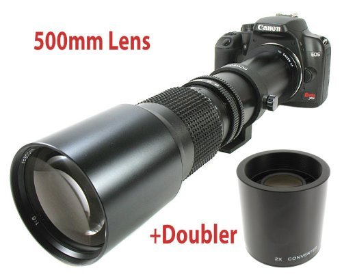 Powerful 500Mm Manual Focus Telephoto Lens +2X 1000Mm Doubler For All Canon Eos Digital Slrs