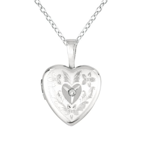 Sterling silver 0.01ct White Diamonds SS Heart Shaped Locket w/ Dia Necklace (G-H, SI1-SI2)