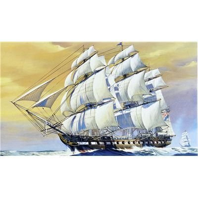 Features: Pre-Molded Ratlines, Individual Cannons, Textured Billowing Sails, Three-Piece Hull And Deck Assembly, Display Stand Base With Name Plate - Revell 1:196 USS Constitution