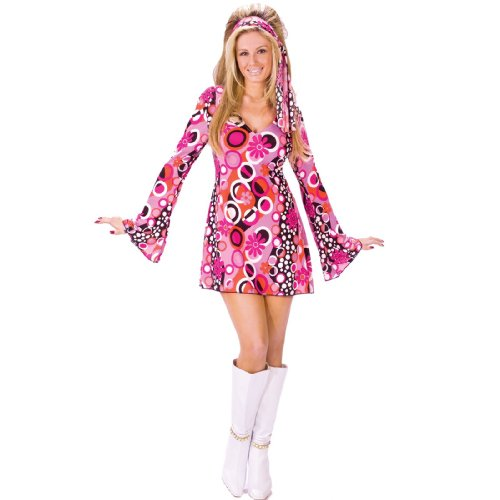 FunWorld Women's Feelin' Groovy, Pink, M/L 10-14 Costume