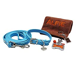 Alfie Pet by Petoga Couture - Keri Rhinestone Pet Collar and Leash Set with Photo Collar Charm and Microfiber Fast-Dry Washcloth - Color: Blue, Size: Medium