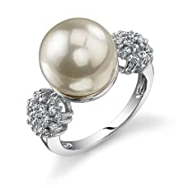 Exquisite Elegance: Sterling Silver Vintage Style White Pearl/CZ Diamond Engagement Ring
