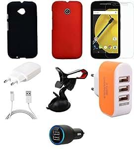NIROSHA Tempered Glass Screen Guard Cover Case Charger Mobile Holder for Motorola E2 - Combo