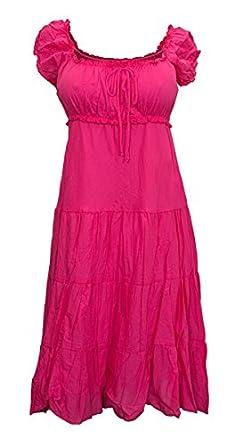 eVogues Plus Size Cotton Empire Waist Sundress Pink - 1X